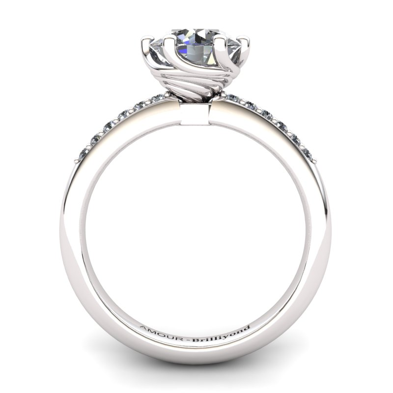 White Topaz Artisanal Eye of Cyclone Solitaire Ring_image1