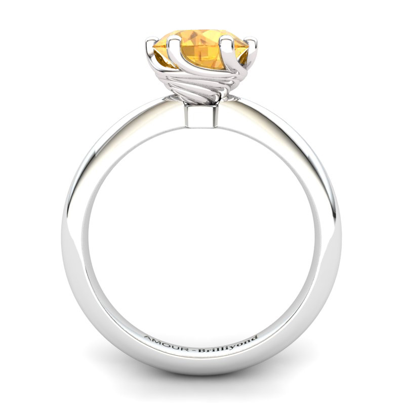 Citrine Artisanal Eye of Cyclone Solitaire Ring_image1