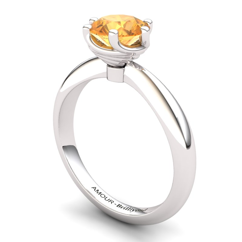 Citrine Artisanal Eye of Cyclone Solitaire Ring_image2