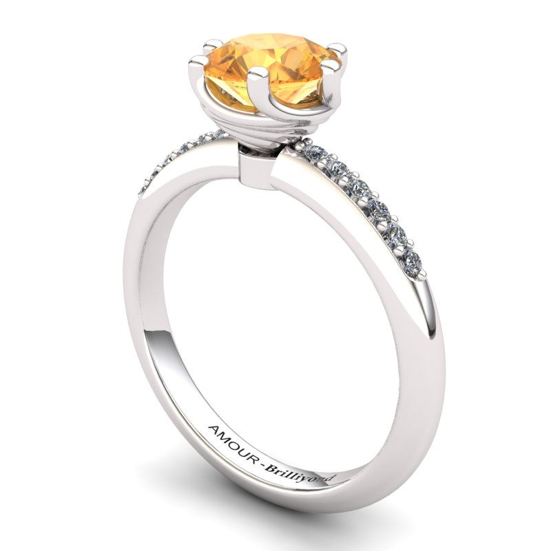 Citrine Elite Eye of Cyclone Solitaire Ring_image1