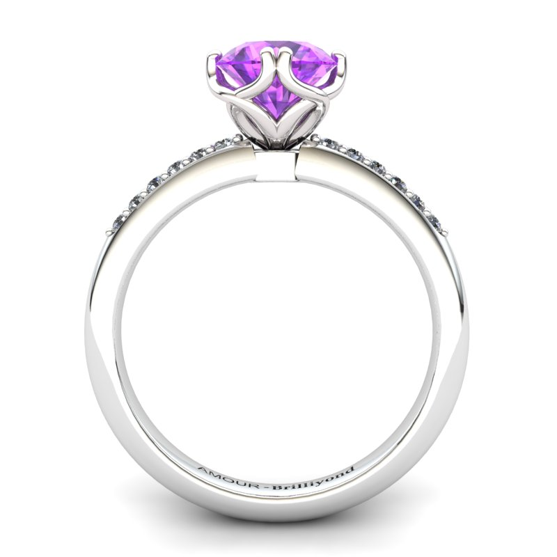 Amethyst Elite Braid Round Solitaire Ring_image1