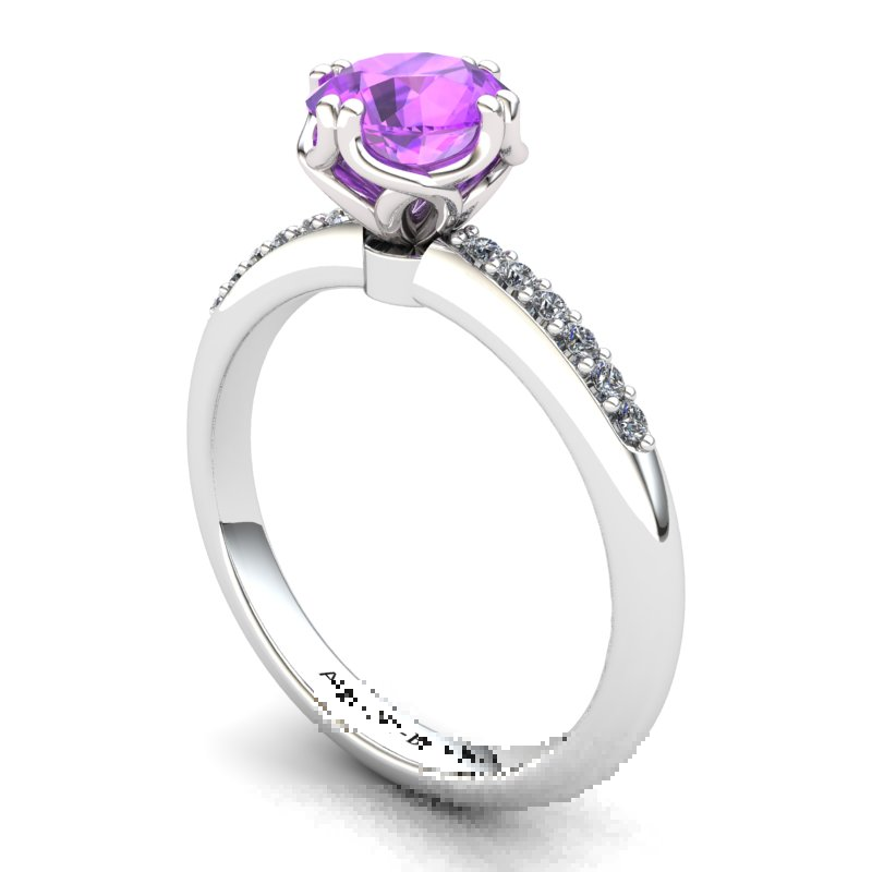 Amethyst Elite Braid Round Solitaire Ring_image2
