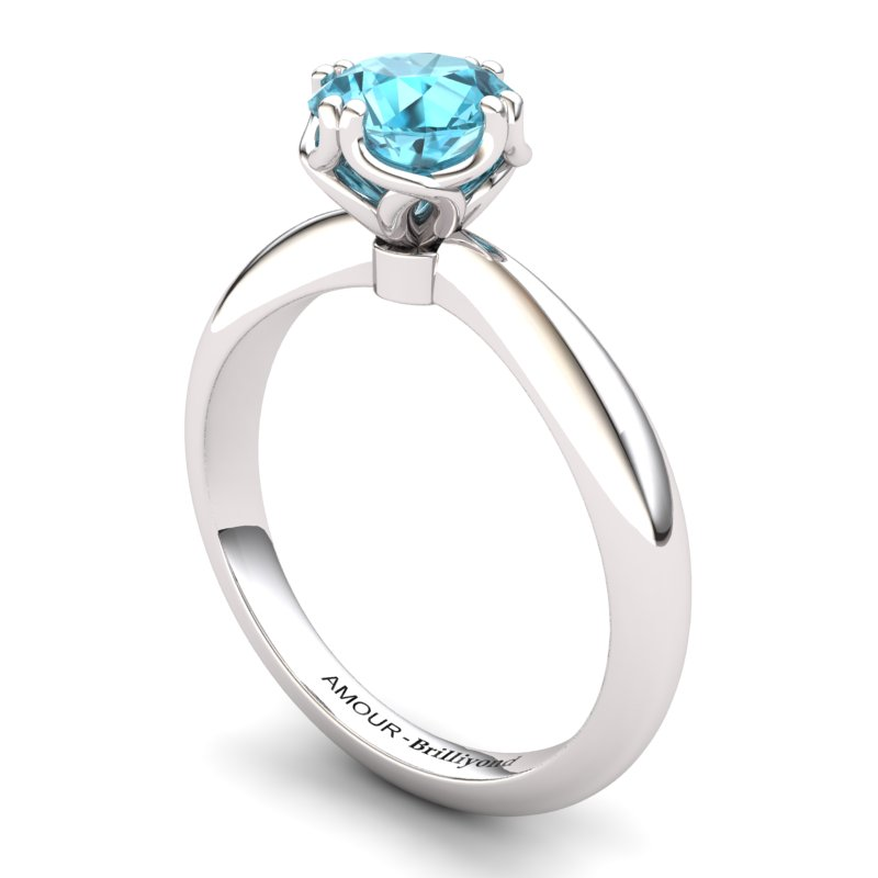 Blue Topaz Artisanal Braid Round Solitaire Ring_image1