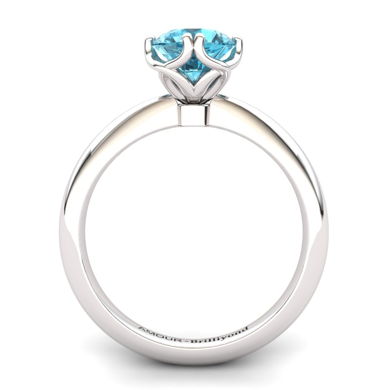 Blue Topaz Artisanal Braid Round Solitaire Ring_image2