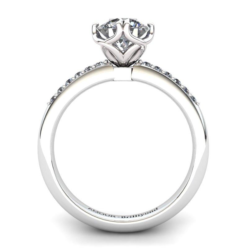 White Topaz Elite Braid Round Solitaire Ring_image2