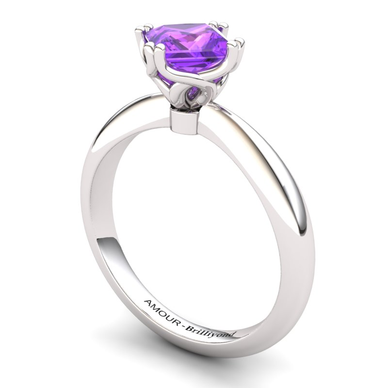 Amethyst Artisanal Braid Square Solitaire Ring_image1