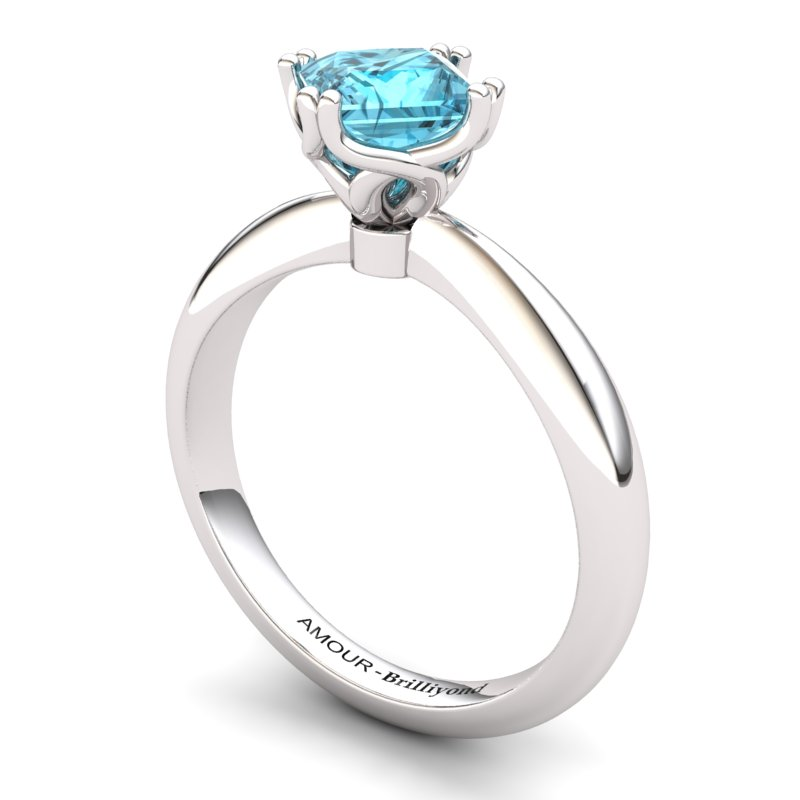 Blue Topaz Artisanal Braid Square Solitaire Ring_image2