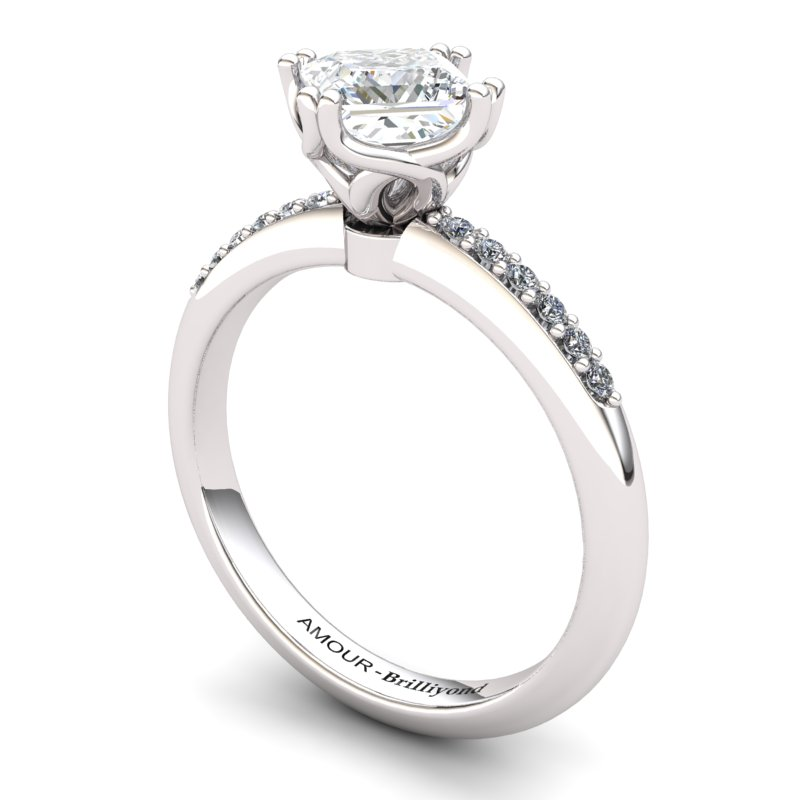 White Topaz Elite Braid Square Solitaire Ring_image1