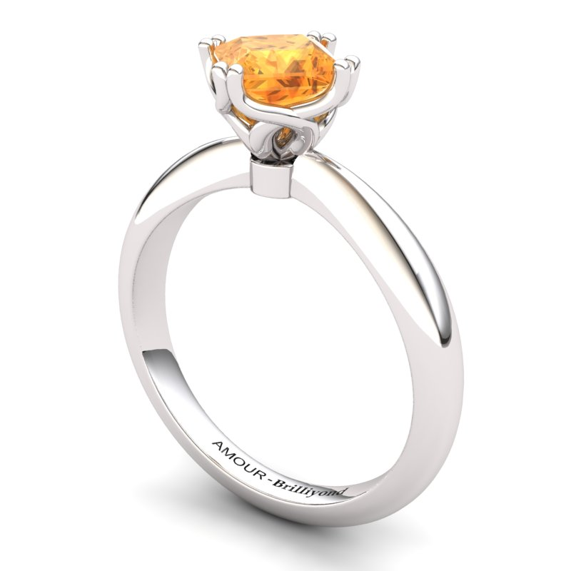 Citrine Artisanal Braid Square Solitaire Ring_image1
