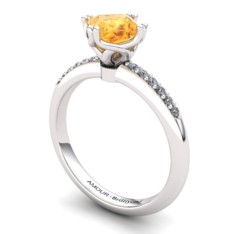 Citrine Elite Braid Square Solitaire Ring_image2