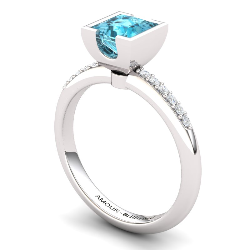 Blue Topaz Elite Watchtower Solitaire Ring_image2