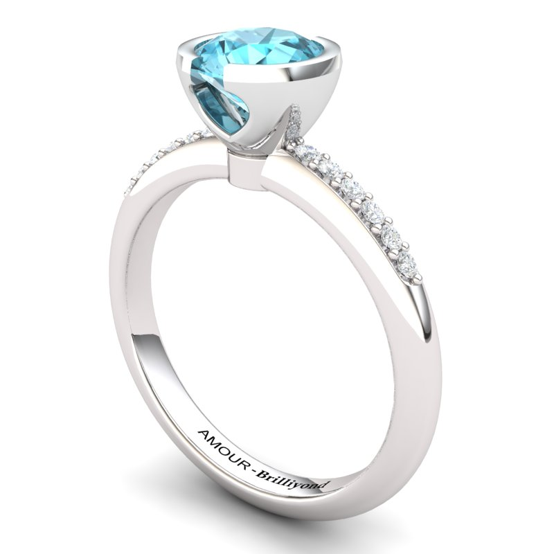 Blue Topaz Elite The Eye of Venus Solitaire Ring_image1