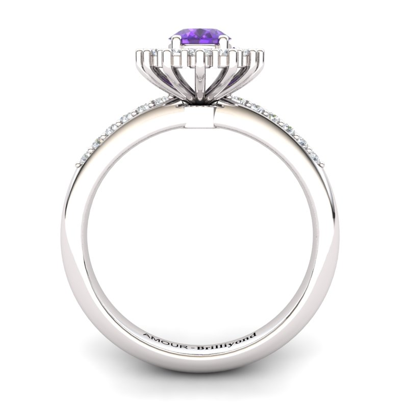 Amethyst Elite The Royal Heritance Silver Engagement Ring_image1