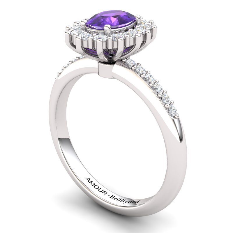 Amethyst Elite The Royal Heritance Silver Engagement Ring_image2