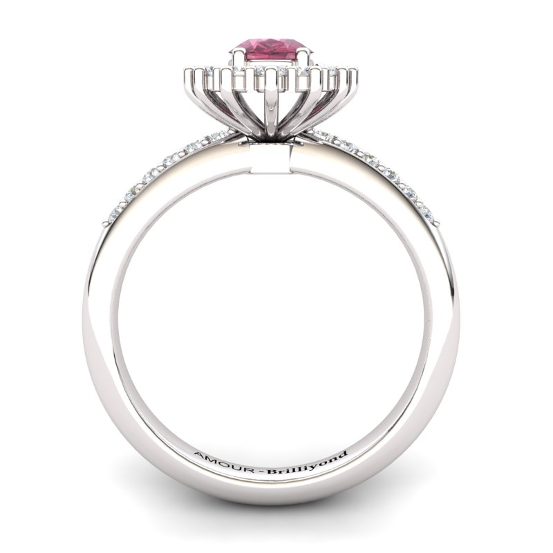 Side view of Brilliyond's Royal Heritance garnet silver engagement ring with CZ accents