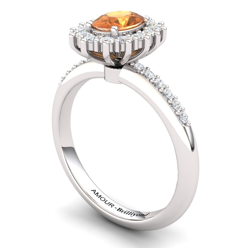 Elite The Royal Heritance Silver Citrine Engagement Ring_image1