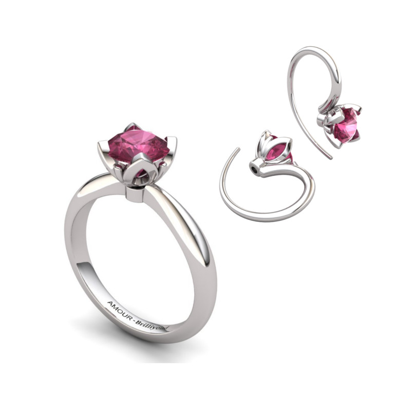 Lilac Wonder Tulip matching Ring and Earrings Set_image1
