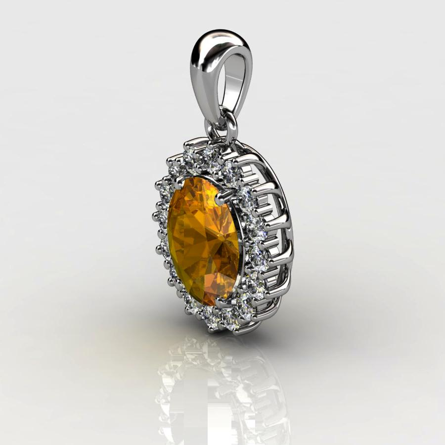 Genuine Natural Citrine Elliptic Cluster Pendant_image1