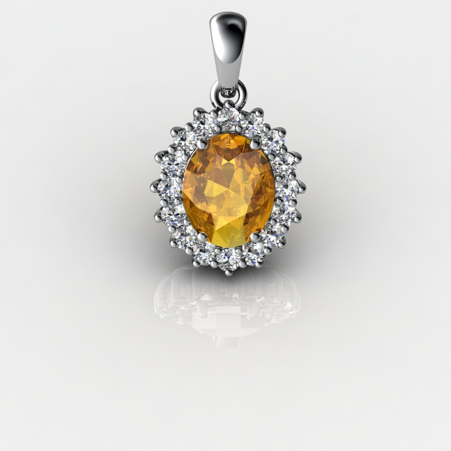 Genuine Natural Citrine Elliptic Cluster Pendant_image2