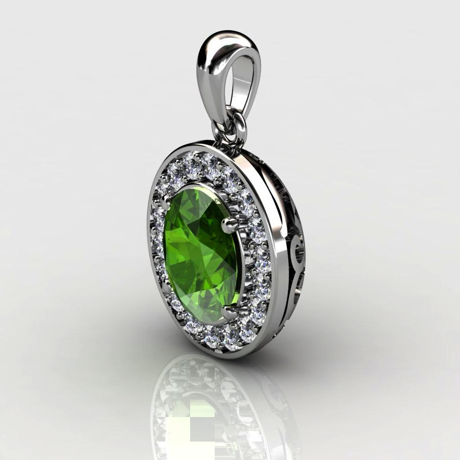Genuine Natural Peridot Pave Pendant in Sterling Silver_image1