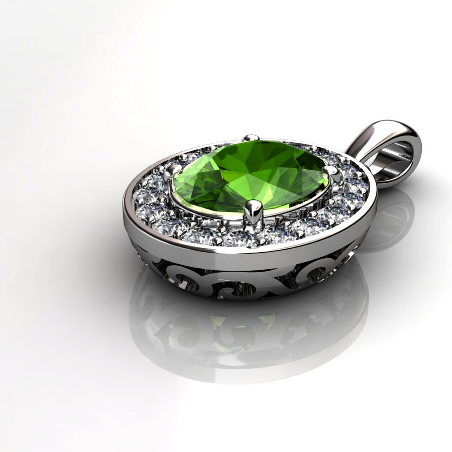 Genuine Natural Peridot Pave Pendant in Sterling Silver_image2