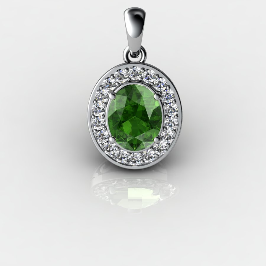 Genuine Natural Peridot Pave Pendant in Sterling Silver_image3