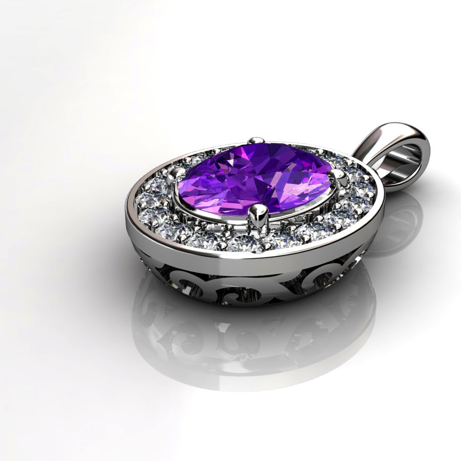 Genuine Natural Amethyst Pave Pendant in Sterling Silver_image2