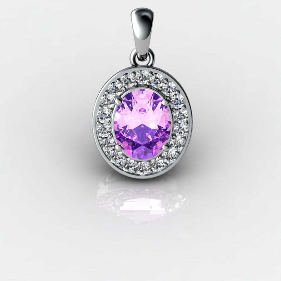 Genuine Natural Amethyst Pave Pendant in Sterling Silver_image3