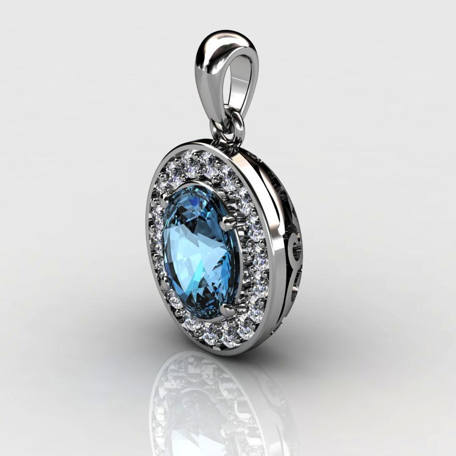 Genuine Natural Blue Topaz Pave Pendant in Sterling Silver_image1