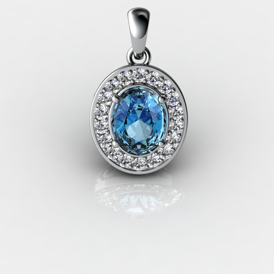 Genuine Natural Blue Topaz Pave Pendant in Sterling Silver_image2
