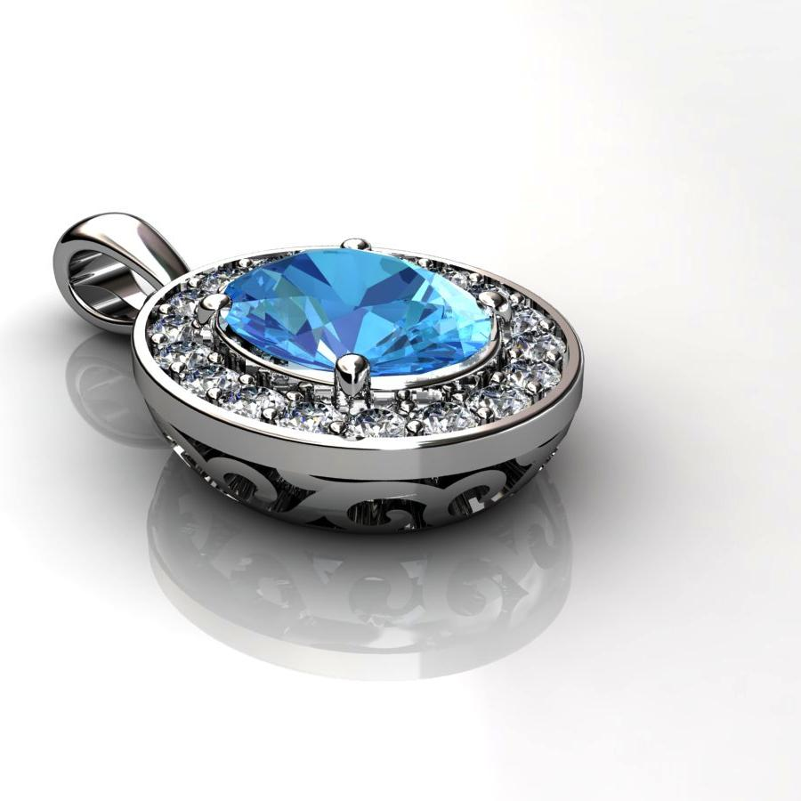 Genuine Natural Blue Topaz Pave Pendant in Sterling Silver_image3