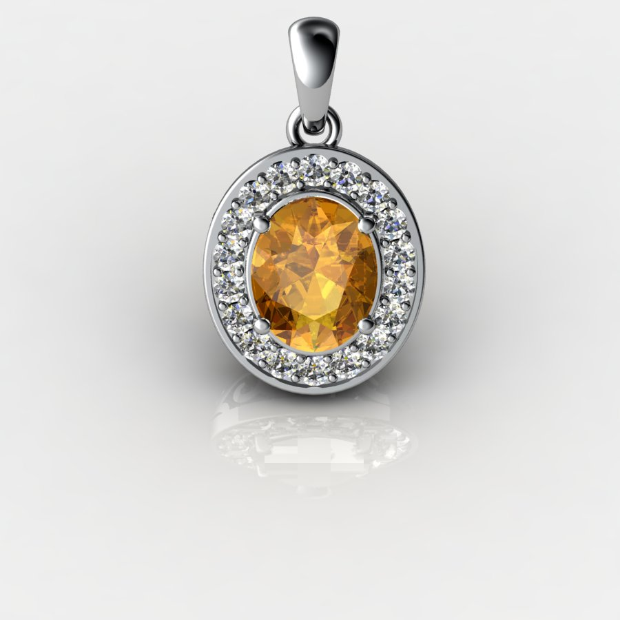 Genuine Natural Citrine Pave Pendant in Sterling Silver_image1