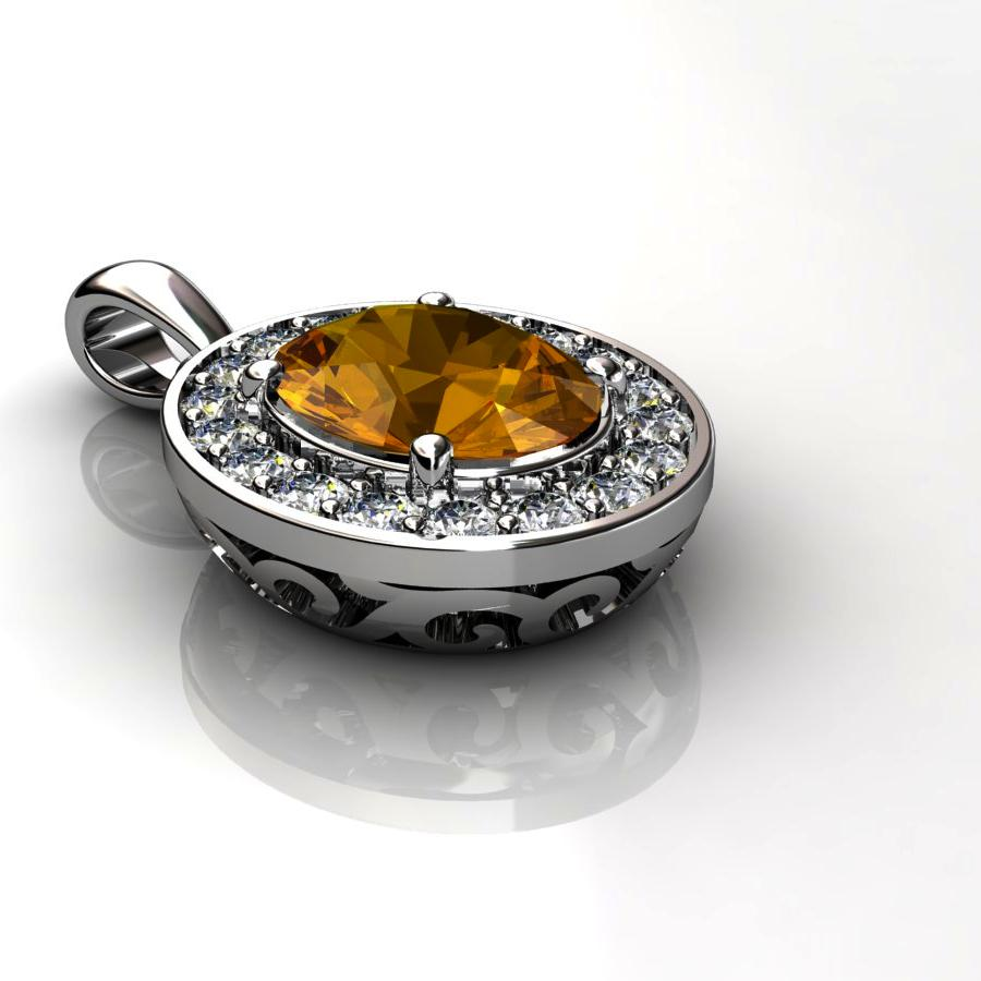 Genuine Natural Citrine Pave Pendant in Sterling Silver_image3