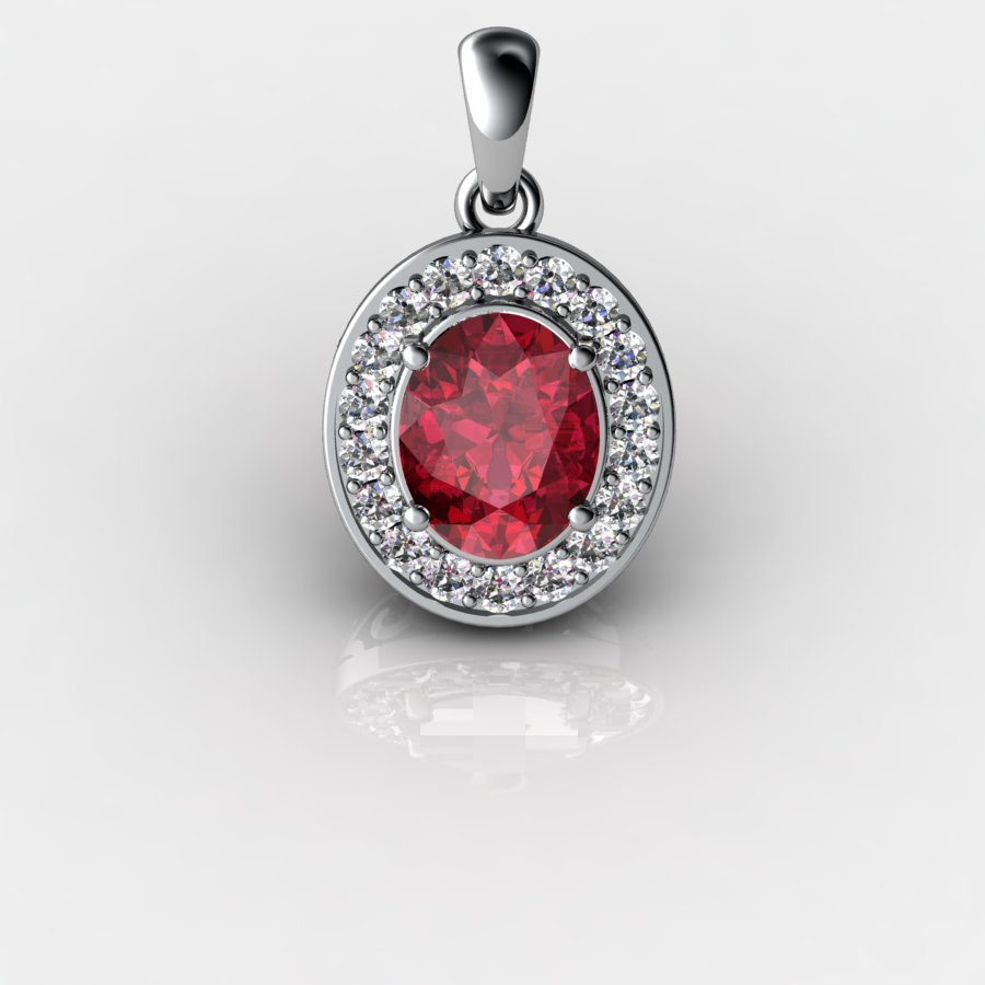 Genuine Natural Garnet Pave Pendant in Sterling Silver_image1