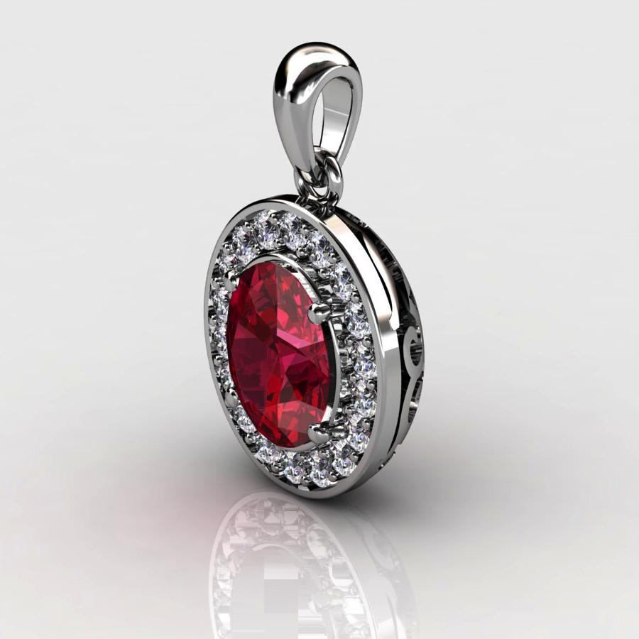 Genuine Natural Garnet Pave Pendant in Sterling Silver_image2