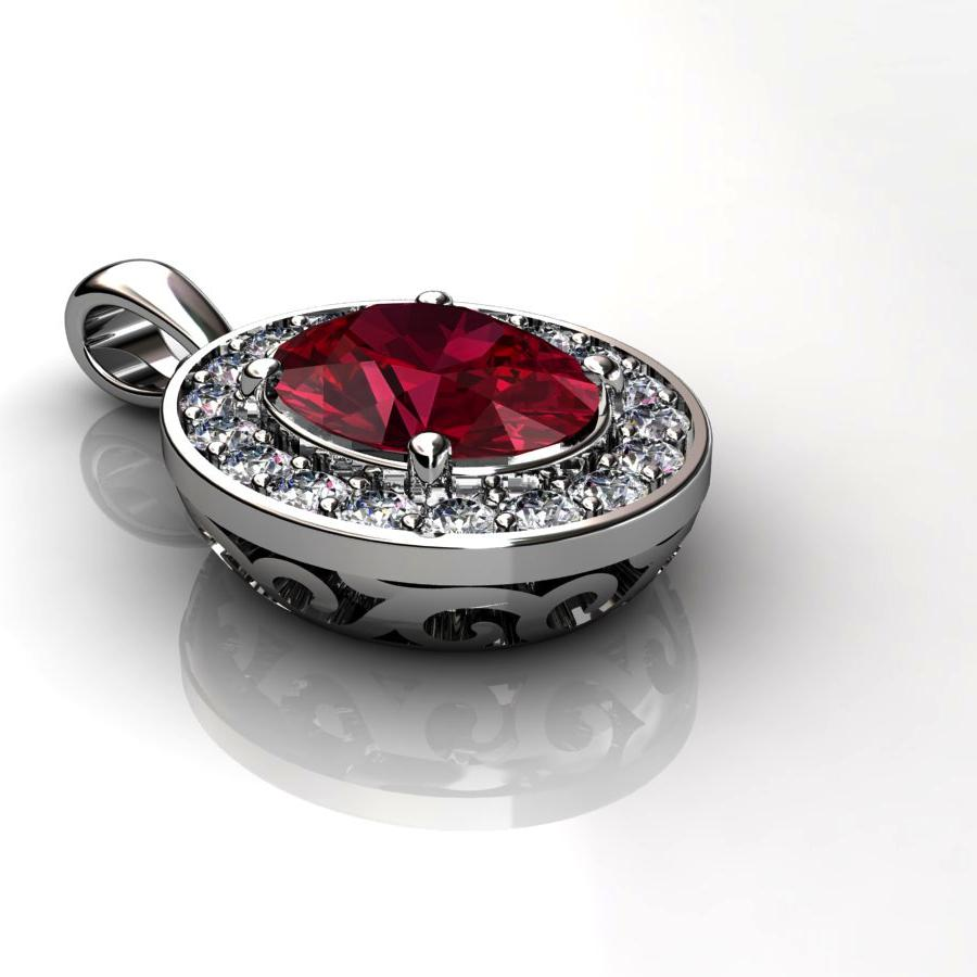 Genuine Natural Garnet Pave Pendant in Sterling Silver_image3