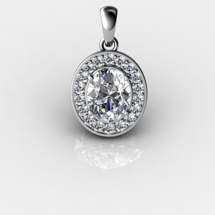 Genuine Natural White Topaz Pave Pendant in Sterling Silver_image1