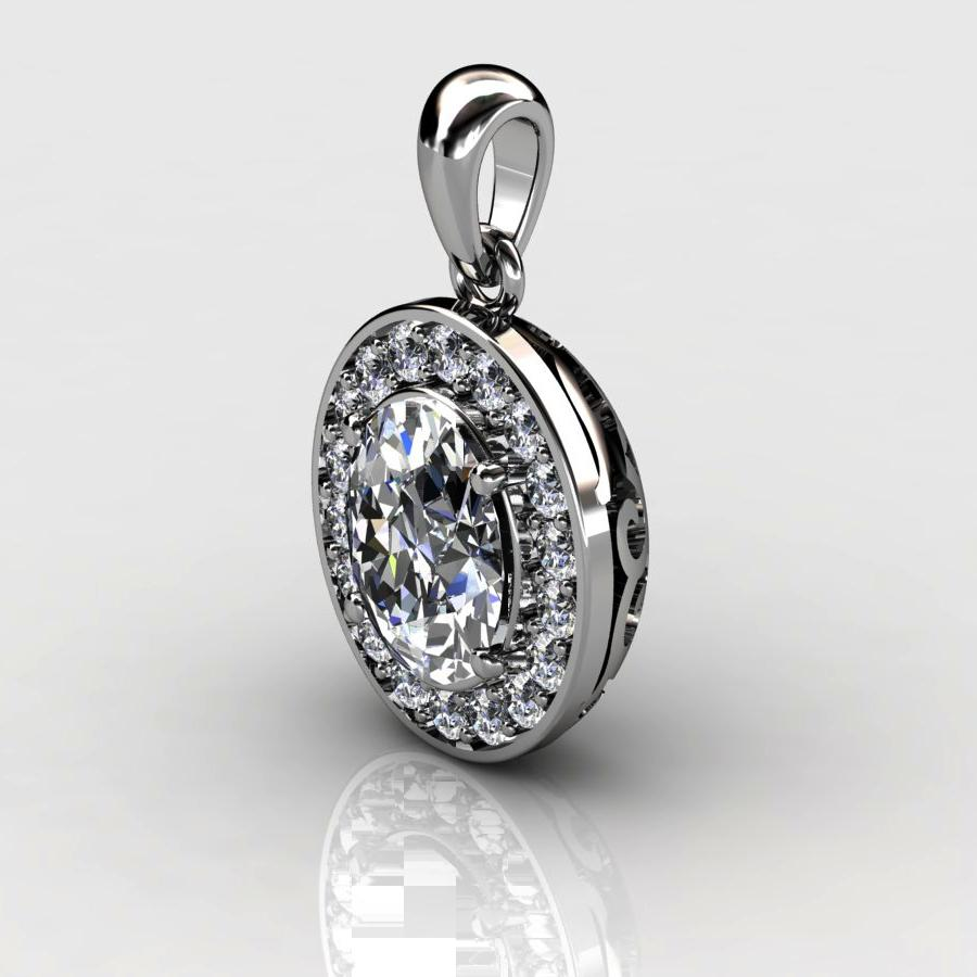 Genuine Natural White Topaz Pave Pendant in Sterling Silver_image2