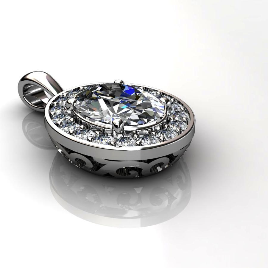 Genuine Natural White Topaz Pave Pendant in Sterling Silver_image3