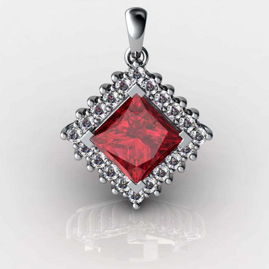 Genuine Natural Garnet Squarish Cluster Pendant_image1
