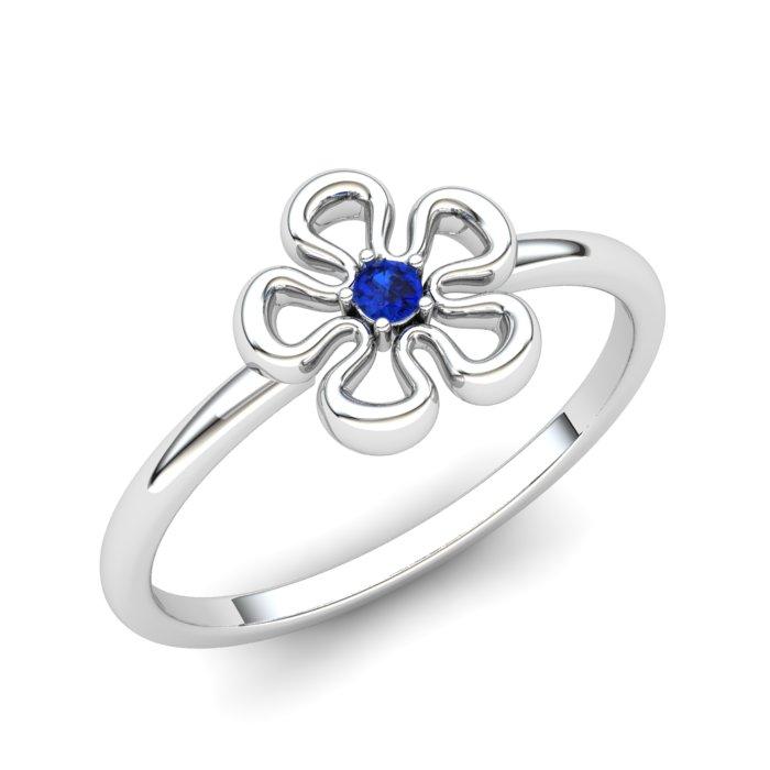 Blue Sapphire Lantana Flower Ring