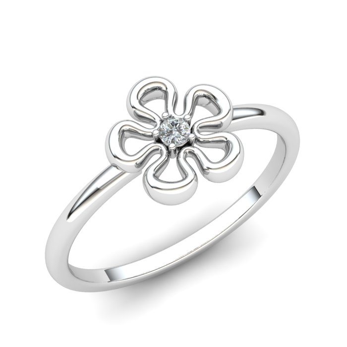 White Sapphire Lantana Flower Ring