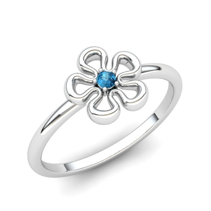 Blue Topaz Lantana Flower Ring_image1