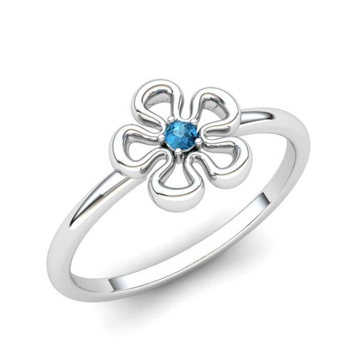 Blue Topaz Lantana Flower Ring