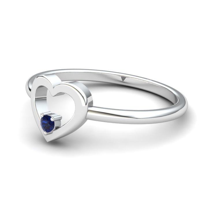 Blue Sapphire Lovably Heart Ring_image1