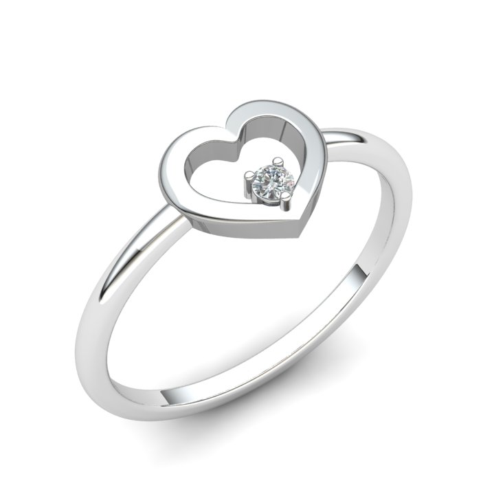 White Sapphire Lovably Heart Ring_image1
