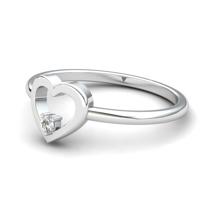 White Sapphire Lovably Heart Ring_image2