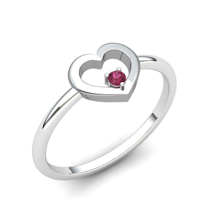 Garnet Lovably Heart Ring