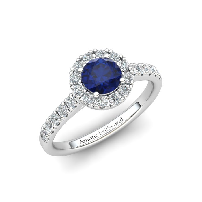 Sapphire Engagement Ring 5mm Round Blue Sapphire in White Gold with White Cluster Stones_image1