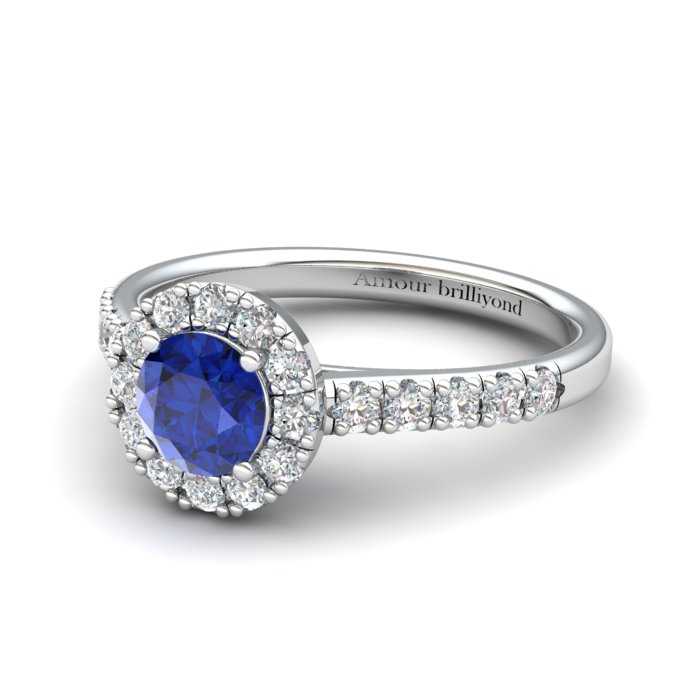 Sapphire Engagement Ring 5mm Round Blue Sapphire in White Gold with White Cluster Stones_image2